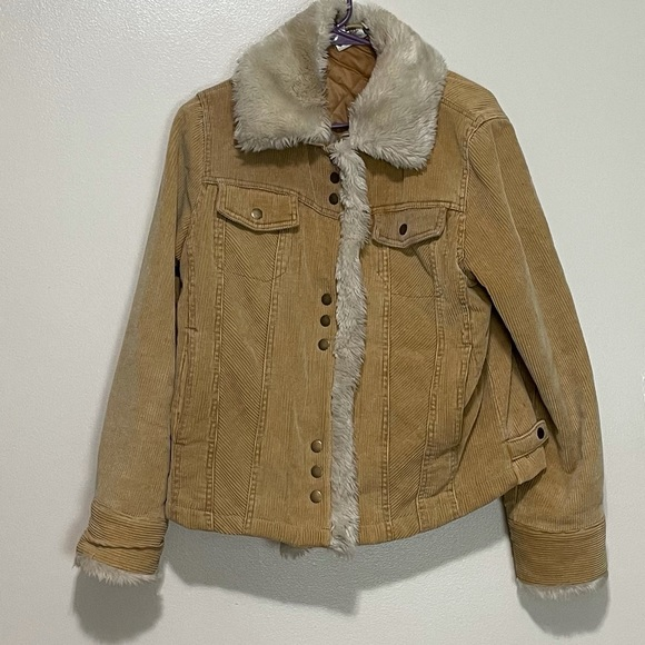 Disney corduroy & faux fur trim jacket
